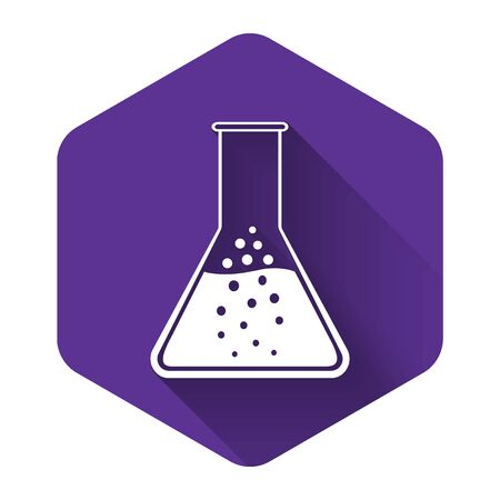 White Test tube and flask - chemical laboratory test icon isolated with long shadow. Purple hexagon button. Vector Illustration
