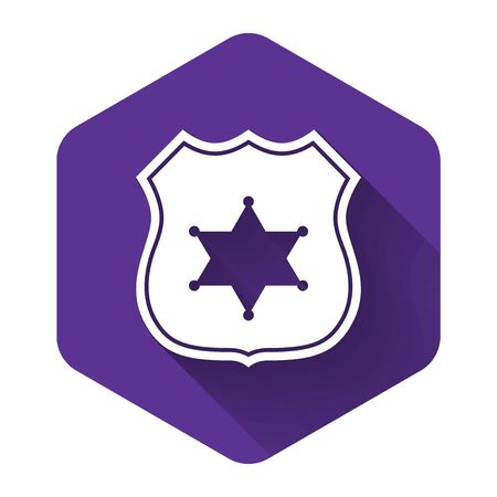 White Police badge icon isolated with long shadow. Sheriff badge sign. Purple hexagon button. Vector Illustration Reklamní fotografie - 132125888