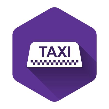 White Taxi car roof sign icon isolated with long shadow. Purple hexagon button. Vector Illustration