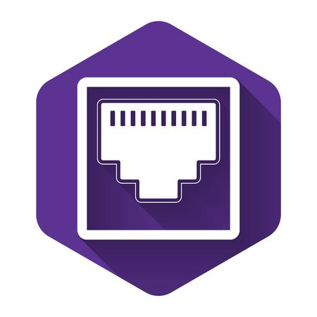 White Network port - cable socket icon isolated with long shadow. LAN port icon. Ethernet simple icon. Local area connector icon. Purple hexagon button. Vector Illustration