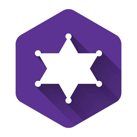 White Hexagram sheriff icon isolated with long shadow. Police badge icon. Purple hexagon button. Vector Illustration
