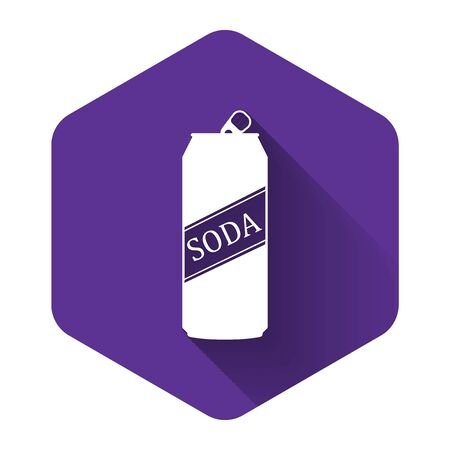 White Soda can icon isolated with long shadow. Purple hexagon button. Vector Illustration Reklamní fotografie - 132125635