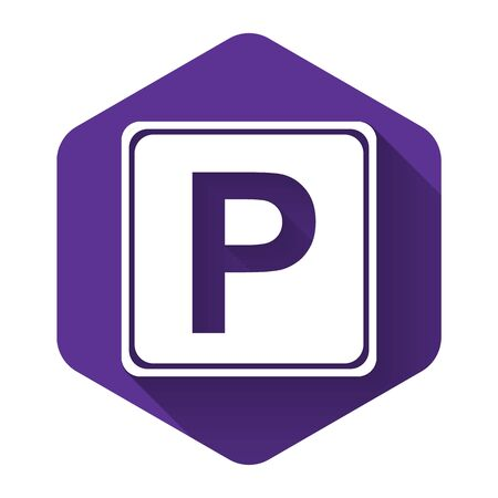 White Parking sign icon isolated with long shadow. Street road sign. Purple hexagon button. Vector Illustration