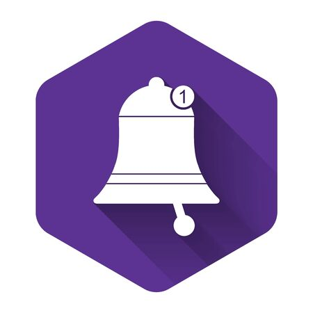 White Bell icon isolated with long shadow. New Notification icon. New message icon. Purple hexagon button. Vector Illustration