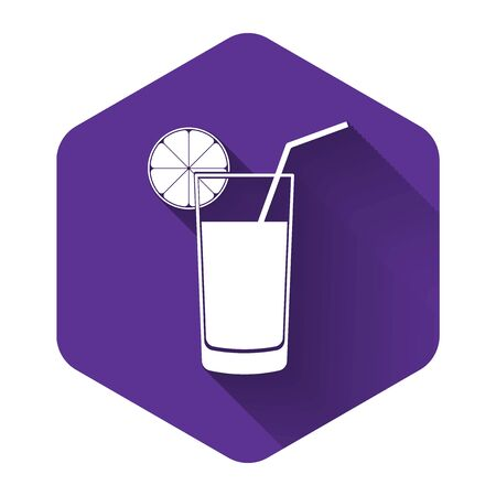 White Glass of juice icon isolated with long shadow. Orange slice and tube for drinking. Healthy organic food. Purple hexagon button. Vector Illustration