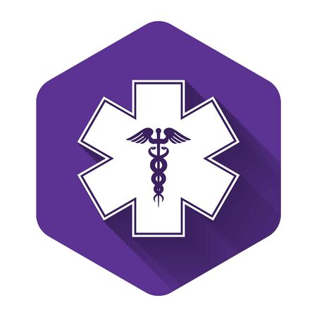 White Emergency star - medical symbol Caduceus snake with stick icon isolated with long shadow. Star of Life. Purple hexagon button. Vector Illustration
