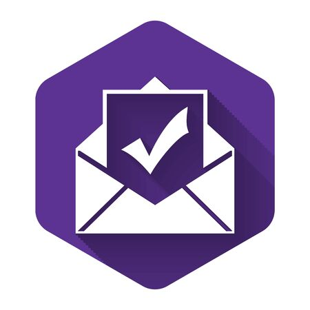 White Envelope with document and check mark icon with long shadow. Successful e-mail delivery, email delivery confirmation, successful verification concepts. Purple hexagon button. Vector Illustration Stok Fotoğraf - 132125891