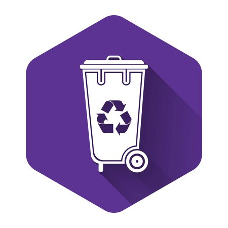 White Recycle bin with recycle symbol icon isolated with long shadow. Trash can icon. Garbage bin sign. Recycle basket icon. Purple hexagon button. Vector Illustration