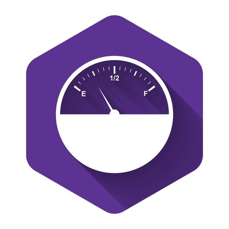 White Fuel gauge icon isolated with long shadow. Full tank. Purple hexagon button. Vector Illustration