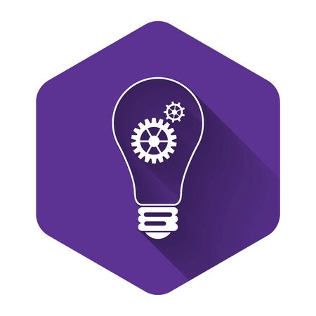 White Light bulb and gear inside icon isolated with long shadow. Innovation concept. Purple hexagon button. Vector Illustration