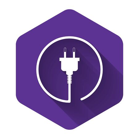 White Electric plug icon isolated with long shadow. Concept of connection and disconnection of the electricity. Purple hexagon button. Vector Illustration 일러스트