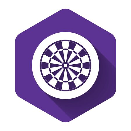 White Classic darts board with twenty black and white sectors icon isolated with long shadow. Dart board sign. Dartboard sign. Game concept. Purple hexagon button. Vector Illustration