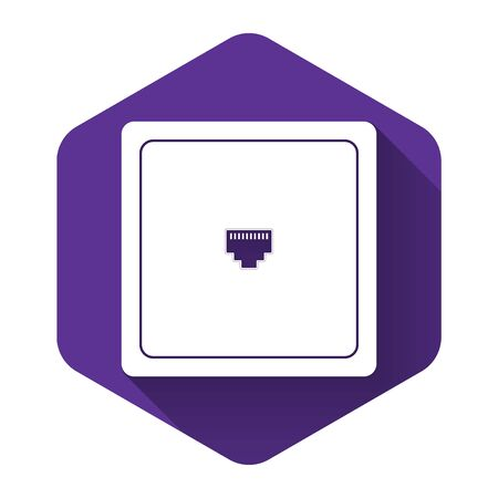 White Ethernet socket sign. Network port - cable socket icon isolated with long shadow. LAN port icon. Local area connector icon. Purple hexagon button. Vector Illustration Vektorové ilustrace