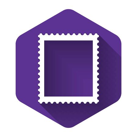 White Postal stamp icon isolated with long shadow. Purple hexagon button. Vector Illustration Stock Illustratie