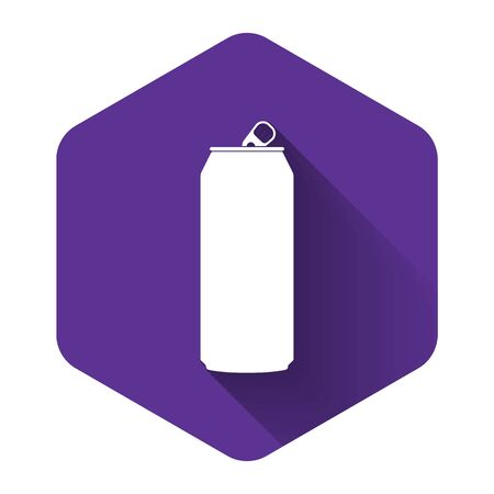 White Aluminum can icon isolated with long shadow. Purple hexagon button. Vector Illustration