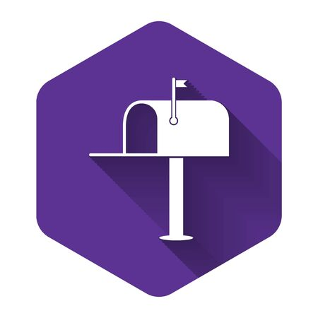 White Open mail box icon isolated with long shadow. Mailbox icon. Mail postbox on pole with flag. Purple hexagon button. Vector Illustration