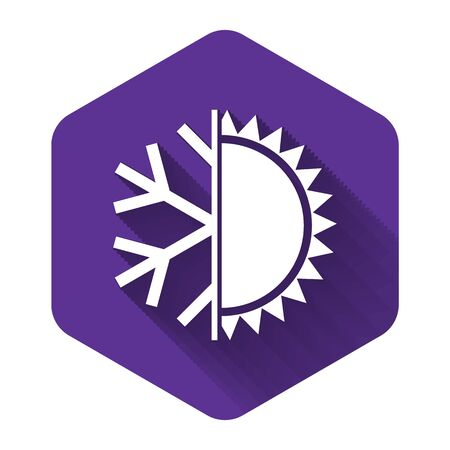 White Hot and cold symbol. Sun and snowflake icon isolated with long shadow. Winter and summer symbol. Purple hexagon button. Vector Illustration