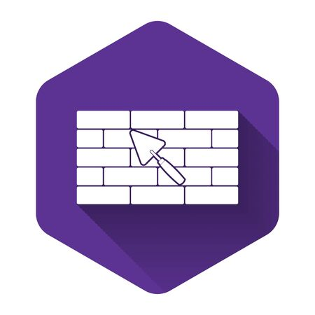White Brick wall with trowel icon isolated with long shadow. Purple hexagon button. Vector Illustration