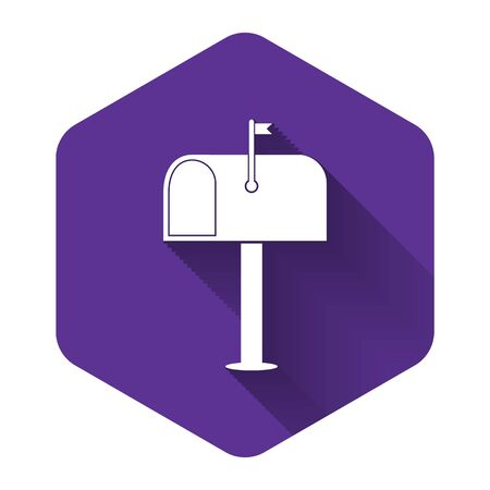 White Mail box icon isolated with long shadow. Mailbox icon. Mail postbox on pole with flag. Purple hexagon button. Vector Illustration Stock Vector - 132725738