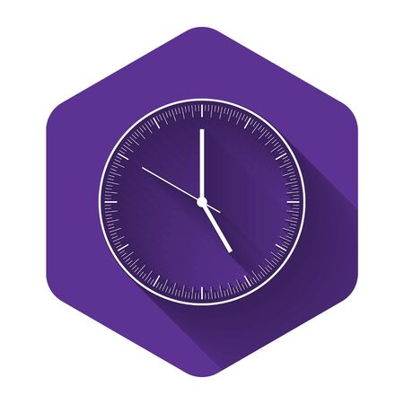 White Clock icon isolated with long shadow. Time icon. Purple hexagon button. Vector Illustration Иллюстрация