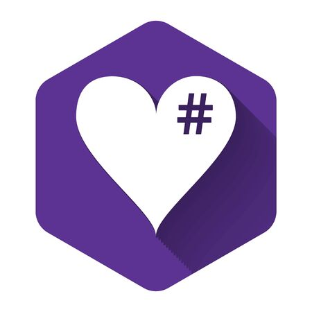 White The hash love icon. Hashtag heart symbol icon isolated with long shadow. Purple hexagon button. Vector Illustration
