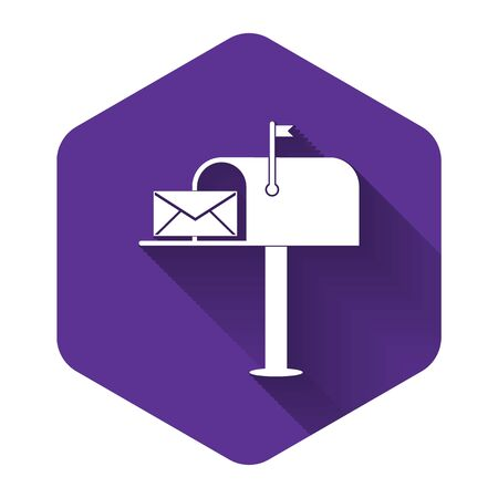 White Open mail box with an envelope icon isolated with long shadow. Purple hexagon button. Vector Illustration