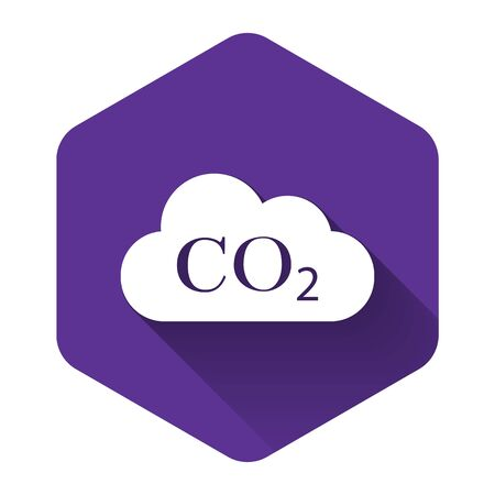 White CO2 emissions in cloud icon isolated with long shadow. Carbon dioxide formula symbol, smog pollution concept, environment concept, combustion products. Purple hexagon button. Vector Illustration Illusztráció