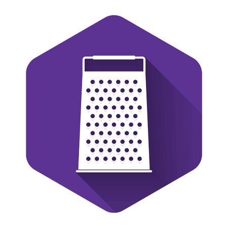 White Grater icon isolated with long shadow. Kitchen symbol. Purple hexagon button. Vector Illustration