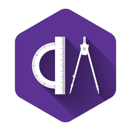 White Protractor and drawing compass icon isolated with long shadow. Drawing professional instrument. Geometric equipment. Education sign. Purple hexagon button. Vector Illustration Illustration