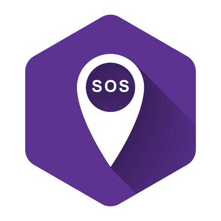 White Marker location with SOS icon isolated with long shadow. SOS call location marker. Map pointer sign. SOS pinpoint sign with text. Purple hexagon button. Vector Illustration