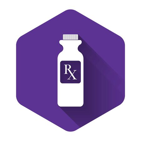 White Pill bottle with Rx sign and pills icon isolated with long shadow. Pharmacy design. Rx as a prescription symbol on drug medicine bottle. Purple hexagon button. Vector Illustration Vektorové ilustrace