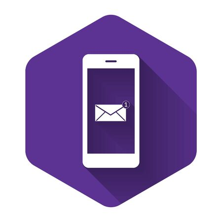 Received message concept. New email notification on the smartphone screen icon with long shadow. New message on the phone screen. Mail delivery service. Purple hexagon button. Vector Illustration  イラスト・ベクター素材