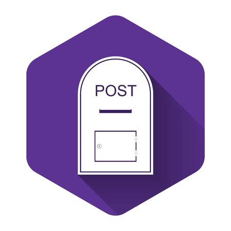 White Mail box icon. Post box icon isolated with long shadow. Purple hexagon button. Vector Illustration
