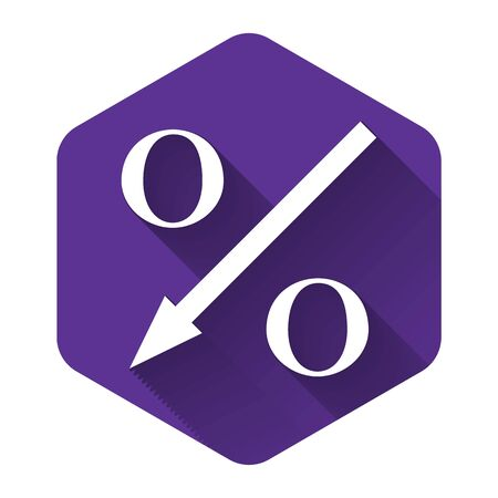 White Percent down arrow icon isolated with long shadow. Decreasing percentage sign. Purple hexagon button. Vector Illustration