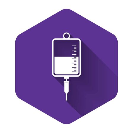White IV bag icon isolated with long shadow. Blood bag icon. Donate blood concept. The concept of treatment and therapy, chemotherapy. Purple hexagon button. Vector Illustration Illusztráció