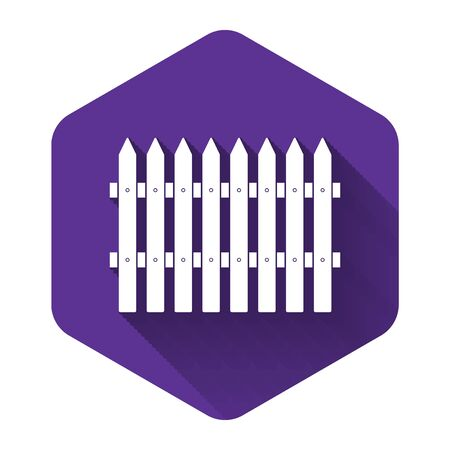 White Fence wooden icon isolated with long shadow. Garden fence sign. Purple hexagon button. Vector Illustration