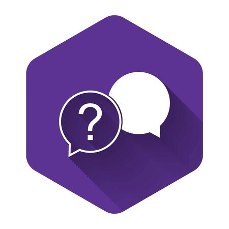 White Chat question icon isolated with long shadow. Help speech bubble symbol. FAQ sign. Question mark sign. Purple hexagon button. Vector Illustration Stock Illustratie