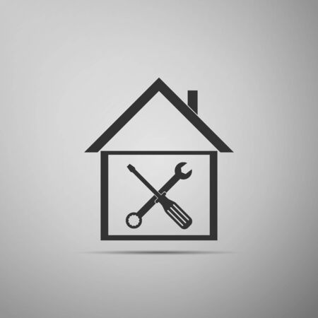Black House or home with screwdriver and wrench icon isolated on grey background. Adjusting, service, setting, maintenance, repair, fixing. Flat design. Vector Illustration