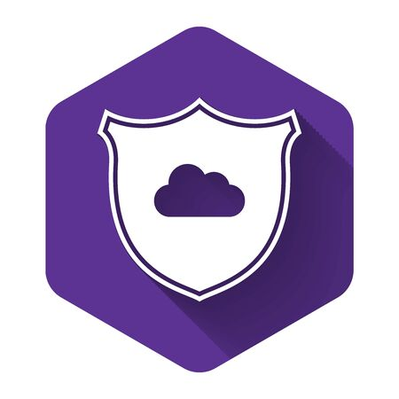 White Cloud and shield icon isolated with long shadow. Cloud storage data protection. Security, safety, protection, privacy concept. Purple hexagon button. Vector Illustration