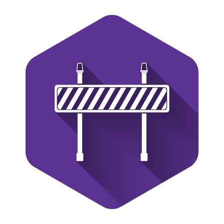 White Road barrier icon isolated with long shadow. Fence of building or repair works. Hurdle icon. Purple hexagon button. Vector Illustration