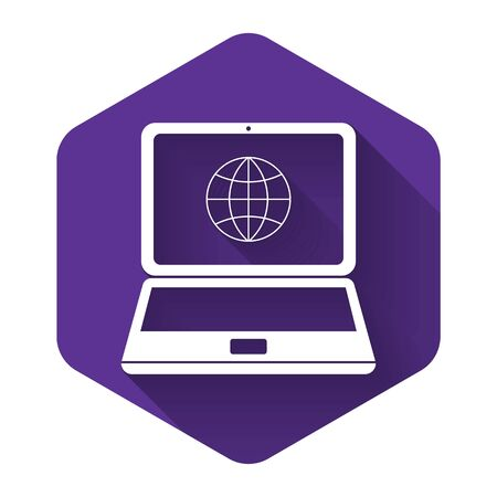 White Globe on screen of laptop icon isolated with long shadow. Notebook computer with globe sign. Purple hexagon button. Vector Illustration