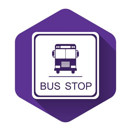 White Bus stop icon isolated with long shadow. Purple hexagon button. Vector Illustration