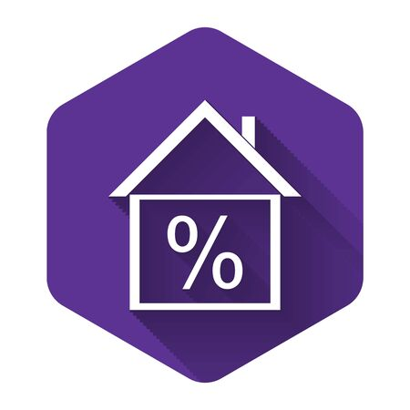 White House with discount tag icon isolated with long shadow. House percentage sign price. Real estate home. Credit percentage symbol. Money loan.Purple hexagon button. Vector Illustration