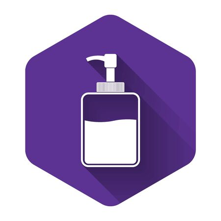 White Hand sanitizer bottle icon isolated with long shadow. Disinfection concept. Washing gel. Alcohol bottle for hygiene. Purple hexagon button. Vector Illustration  イラスト・ベクター素材