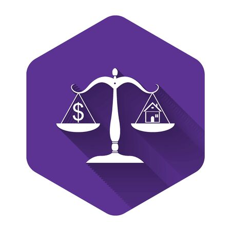 White House and dollar symbol on scales icon isolated with long shadow. Purple hexagon button. Vector Illustration