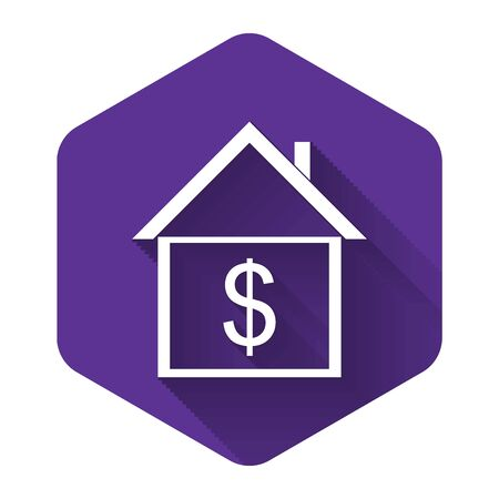 White House with dollar icon isolated with long shadow. Home and money. Real estate concept. Purple hexagon button. Vector Illustration