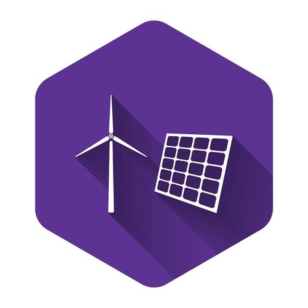 White Wind mill turbines generating electricity and solar panel icon isolated with long shadow. Energy alternative, concept of renewable energy. Purple hexagon button. Vector Illustration 向量圖像