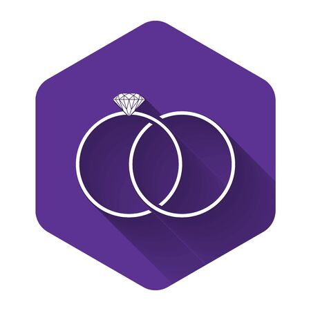 White Wedding rings icon isolated with long shadow. Bride and groom jewelery sign. Marriage icon. Diamond ring. Purple hexagon button. Vector Illustration Illustration