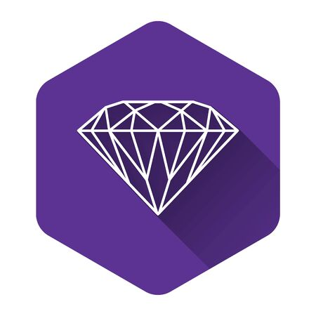 White Diamond icon isolated with long shadow. Jewelry symbol. Gem stone. Purple hexagon button. Vector Illustration