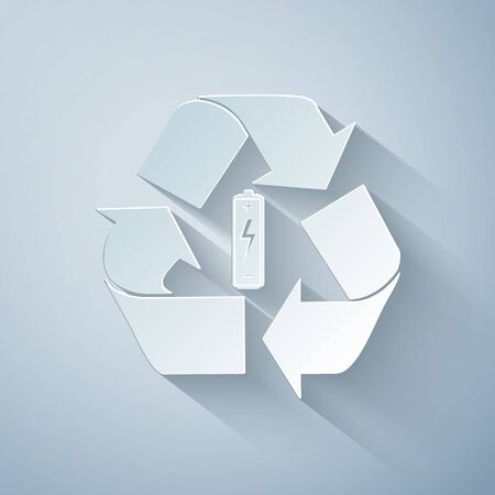 Paper cut Battery with recycle symbol icon isolated on grey background. Battery with recycling symbol - renewable energy concept. Paper art style. Vector Illustration
